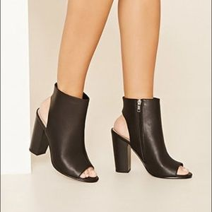 Open-toe Black Booties